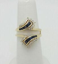 1.75Ct Sapphire & Diamond Enhancer Wedding Wrap Ring Guard 14K Yellow Gold Over