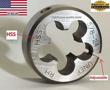 "Lighthouse quality tools® 5/8-24 RH Adjustable HSS round threading Die 1-1/2"" OD"