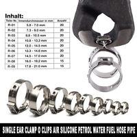 170 pièce collier de serrage en acier inoxydable tuyau à Single oreille 5.8-21mm