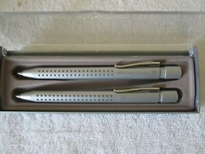 Faber-Castell Grip Silver Ballpoint Pen and Pencil Set In Case EUC Germany