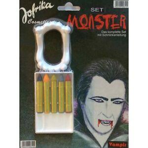 VAMPIR KINDER MAKE-UP & GEBISS # Halloween Karneval Schminkstifte Farbe Schminke