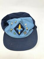 Vintage Webelos Boys Cub Scout Official Blue Hat with merit pin adjustable *ASIS
