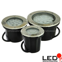 Low Voltage In-Ground LED Well Light with Brushed Stainless Steel Trim, 3W~20W