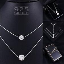 Doppel Kugel Halskette 925 Sterling Silber Damen ❤ SWAROVSKI ELEMENTS ❤ + ETUI