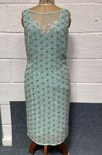 Jacques Vert Aqua Beaded Flapper Style Shift Dress Size UK10 Wedding/Occasion