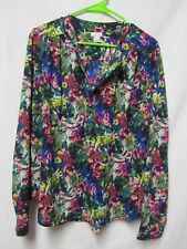 J. CREW top shirt blouse XL 16/18 Bust 50 Multi color Floral print Half buttonup
