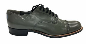 Stacy Adams Men Classic Madison Gray Leather Cap Toe Shoes US Size 9