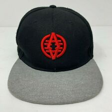 Akademiks Original Snapback Hat Embroidered Logo Black Gray Red OSFM EUC