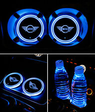 2PCS For Mini LED Car Cup Holder Pad Mat Colorful Auto Interior Atmosphere Light