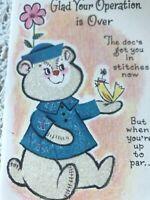 Vintage Greeting Card Get well Glitter Bear zipper Scar Operation