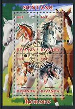 Rwanda 2013 CTO Mustang Horse 4v M/S Domestic Farm Animals Horses Stamps