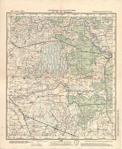 1941 vintage Russian Military Topographic Map – LASDEHNEN, East-Prussia, Germany