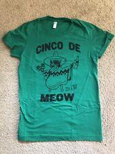 CINCO DE MEOW Green T Shirt Women's SZ L - Cinco de Mayo Fun