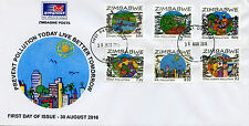Zimbabwe 2016 FDC Prevent Pollution 6v Set Cover Science Environment Stamps