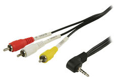 1m 90° 3.5 mm 4 Pole Jack Plug to 3x RCA Phono Composite & Audio AV Cable for TV