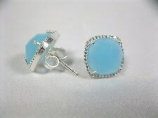 Amelia Rose Paris stud light blue with clear silver tone earrings crystal pave