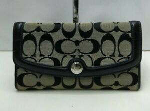 Coach Black and Gray Signature Canvas Leather Trifold Long Wallet + Check book
