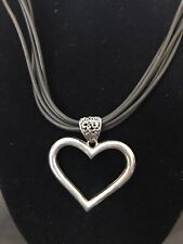 Steampunk Boho Gypsy Large Silver Tone HEART Pendant Necklace Faux Leather Ropes