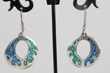 COSTUME ALPACA MEXICO INLAID BLUE & GREEN STONE EARRINGS FASHION 8889