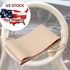 "Premium Beige Genuine Leather Steering Wheel Cover 38cm 15"" For Car SUV Truck"