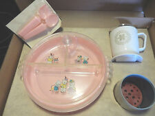 Vintage 4 Pc Baby Feeding Set Hankscraft #1624 Bottle Warmer Plate Cup Fork Spoo