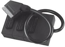 3 Way Triple TV Scart Lead Box Adaptor Trendy Extension Splitter Joiner Cable