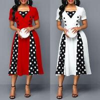 Women's Polka Dot Retro Vintage Style Cocktail Party Swing Midi Long Dresses