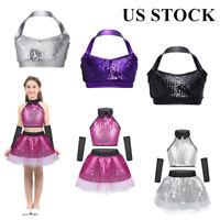 US Girls Sequins Jazz Hip Hop Dance Crop + Skirt Set Kid Halter Bra Tops Costume