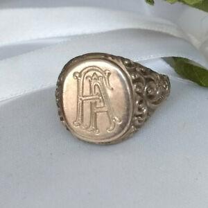 """Monogramm Ring alter verzierter Silberring """"FA"""" Gr.55/56 // 7,6 g (3001)"""