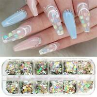12 Grids Mixed Nail Art Glitter Sequins Flakes Holographics Laser Nail Decor UK