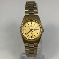 Seiko Womens SQ Vintage President Style Gold Tone Bracelet Day Date Analog Watch