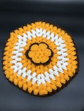 "Vintage Hand Crocheted Afghan Style Pillow, 13"", Yellow, Brown & White W/ Flower"