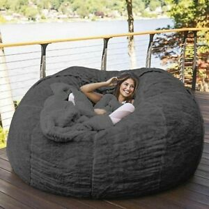 7-Foot Bean Bag Fur Cover Machine Washable Big Size Sofa Giant Lounger Furniture