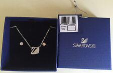 Nib Swarovski Swan Necklace & Earrings set Silver-Plated Clear Crystal #5136654