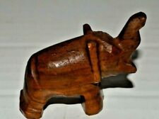 Vintage Small Carved Brown Wood (I believe - very hard) Elephant