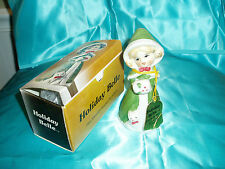 "Vtg, ""Jasco Holiday Belle Figurine & Bell w/ cat"", 1978 fine bisque porcelain"
