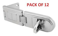 PACK OF 12    6-1/4 inch Single Hinged Hasp Zinc Plated Heavy Duty