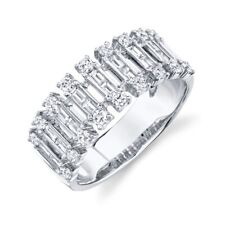 14K White Gold Baguette Diamond Wide Ring Open Womens Right Hand Statement 7