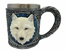 More details for novelty white wolf tankard drinking mug cup