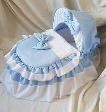 BLUE AND WHITE MOSES BASKET COVER SET BY BABYFANZONE