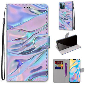 Fluorescent Water Pattern Fashion Flip Wallet Case Back Cover For Various Phones