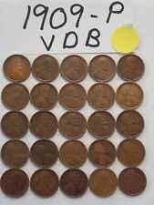 1909-P VDB  SOLID DATE 25 PENNIES= HALF ROLL  LINCOLN WHEAT CENTS  *KEY DATE!*