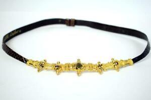 """JUDITH LEIBER Vintage SNAKESKIN LEATHER Belt Gold Cross Buckle 34.5"""" Adjustable"""