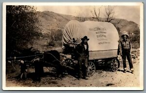 Postcard RPPC c1940s Arizona Duke & Bashful Covered Wagon Troupe Signed