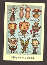 Happy Halloween Ghost Twins Pumpkin Witch Miss Cactus Drakul Postcard,,
