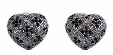 Swarovski Elements Crystal Heart Pierced Earrings Rhodium Plated New 7266x