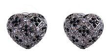 Swarovski Elements Crystal Heart Pierced Earrings Rhodium Plated New 7266x