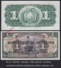 P # 112 Bolivie 1 Boliviano 1929 * Ovpt sur 1911 P # 103 > 100% NET & UNC