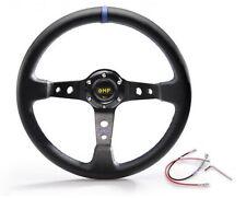 "OMP Blue 350mm 3"" Deep Dish PVC Racing Steering Wheel Sport JDM Drift Race"