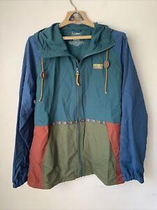 LL Bean Mens Anorak Windbreaker Jacket Large L Nylon Classic Aztec Colorblock